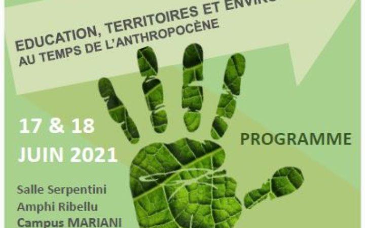 """Edu-BioMed at Journés d'étude internationales """"Education, Territoires et Environnements au temps de l'anthropocène"""", June 17th&18th, 2021"""